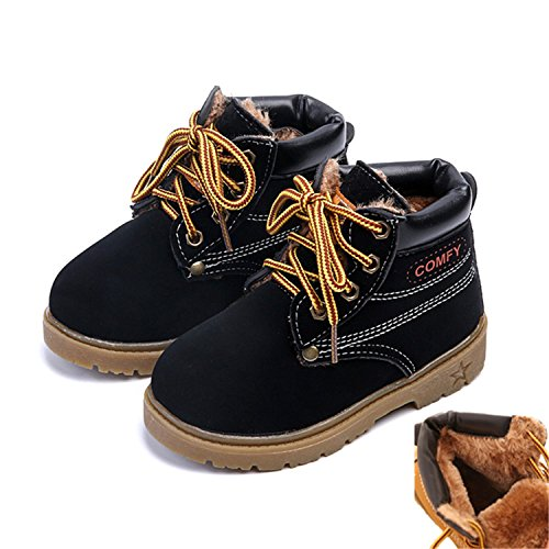 Kids Child Snow Boots Shoes Girls Boys Boots Baby Girls Child Boots Shoe 609 Fur Black - Baby Boots Mk