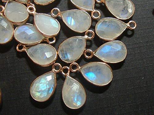- 2 pcs, 14x8mm, Handmade Natural Moonstone Rose Gold Plate Sterling Silver Bezel Rim Teardrop Pendant Charm Finding