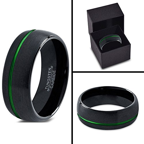 Tungsten Wedding Band Ring 10mm for Men Women Black Green Off Set Domed Brushed Polished Lifetime Guarantee