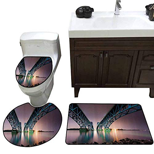 3 Piece Toilet lid Cover mat Set Apartment Decor Collection South Grand Island Bridge Spanning Niagara River in Upstate New York Riverside Image Custom Made Rug Set Puce Teal