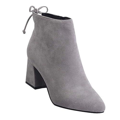 Huatime Zapatos para Mujer Botas - Mujer Dedo del pie Puntiagudo Botines Cordones Gamuza Tacón Ancho Chelsea Casual Cómodo Zapatos de tacón: Amazon.es: ...