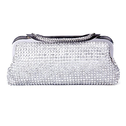 Clutch Women's Handbag Lady Party Crystal Evening Bags Silver - 1
