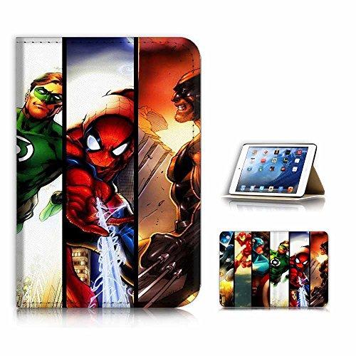 ( For iPad Mini 4, Generation 4 ) Flip Case Cover & Screen Protector Bundle - A21001 Superhero Batman Spiderman Flash Collection (Bundle 4 Case)