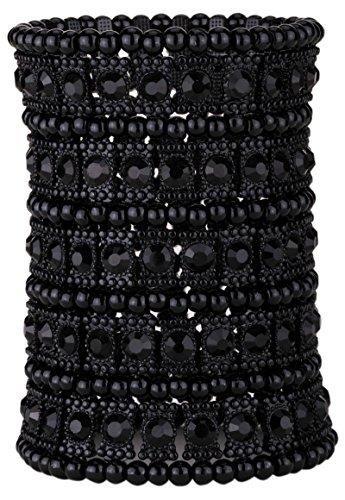 (YACQ Jewelry Women's Multilayer Crystal Stretch Bracelet 5 Row)