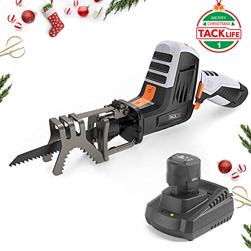 - 【Christmas Selection】Reciprocating Saw with 12-Volt Max battery, Tacklife 1500mAh Lithium-Ion Cordless Saw includes Clamping Jaw, Variable Speed with 0-2500Rpm, Battery indicator, 1 Hour Fast Charger