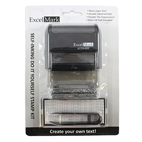 Amazon excelmark self inking do it yourself stamp kit a2359 amazon excelmark self inking do it yourself stamp kit a2359 diy black ink office products solutioingenieria Gallery