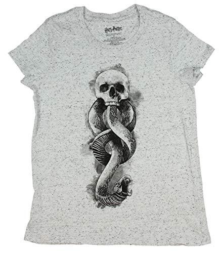 Real Deal Sales LLC Harry Potter Death Eater Dark Mark Symbol Speckled Juniors T-Shirt (Small) White
