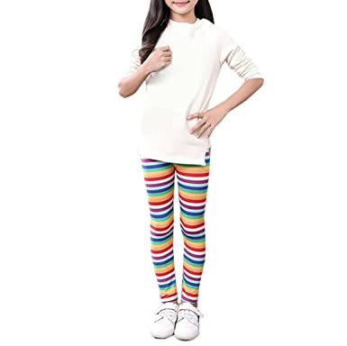 79d4b2225e804 Amazon.com: Girls Leggings, UBuyit Children Rainbow Print Pencil Pants Kids  Trousers 2-13 Years: Clothing