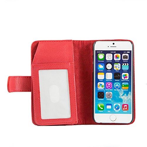 """iProtect Apple iPhone 6 (4,7"""") Hülle im Multi Bookstyle mit vielen Fächern Kunstleder Wallet Case Litschi rot"""