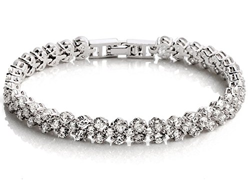 "(Dazzle flash Women's White Gold Plated Austrian Crystal Elements Tennis Bracelet,Wedding Jewelry For Womens -bcw041 (6.64""))"