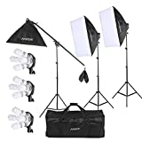 Andoer Studio Photo/ Video Softbox Lighting Kit with 12pcs 45W 5500K Bulb 3pcs 4in1 Bulb Socket 3pcs Softbox 3pcs 200cm Light Stand and 55inch Cantilever Stick+ Carrying Bag