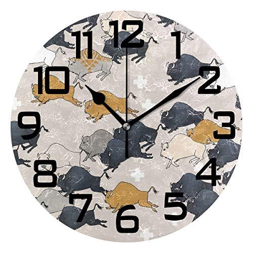 Buffalo Clock - Buffalo Stampede Round Acrylic Wall Clock, Silent Non Ticking Battery Decorative Home Kitchen Classroom Office School