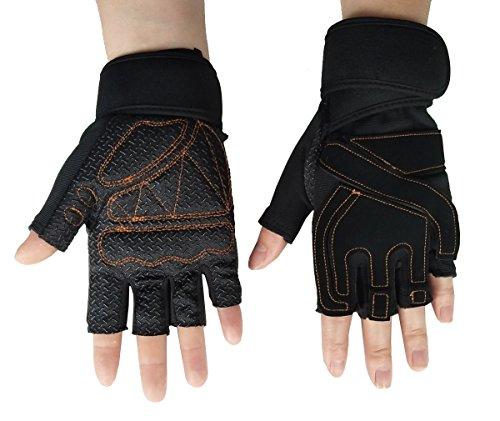 Steampunk Gothic Gloves Mens Vintage Geuuine Leather Captain Fingerless Mittens (Anti-slip Black)