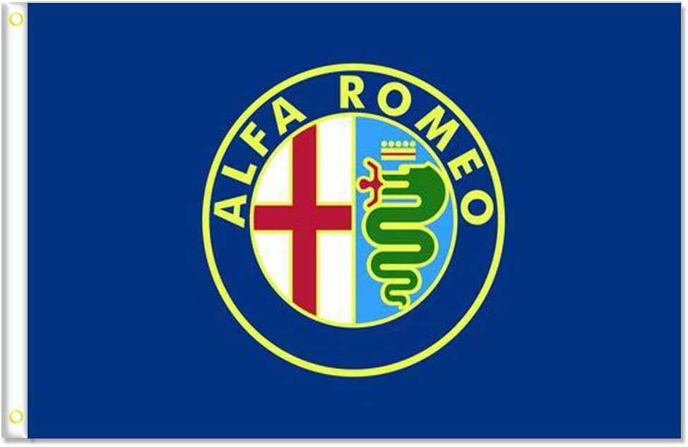 MCCOCO Alfa Romeo Flags Banner 3X5FT-90X150CM 100% Polyester,Canvas Head with Metal Grommet,Used both Indoors and Outdoors. (BLUE)