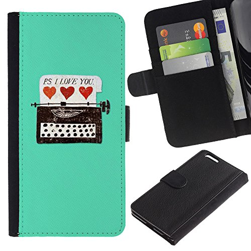 UberTech / Apple Iphone 6 PLUS 5.5 / Type Typewriter Hipster Teal Hearts Love You / Cuir PU Portefeuille Coverture Shell Armure Coque Coq Cas Etui Housse Case Cover Wallet Credit Card