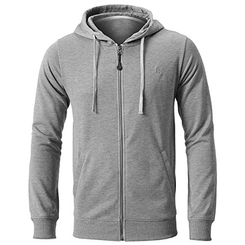 INFLATION Men's Zip-up Hoodie Long Sleeve French Terry Lightweight Basic Zip-up Hoodie Jacket 8 Color Choices Heather Grey