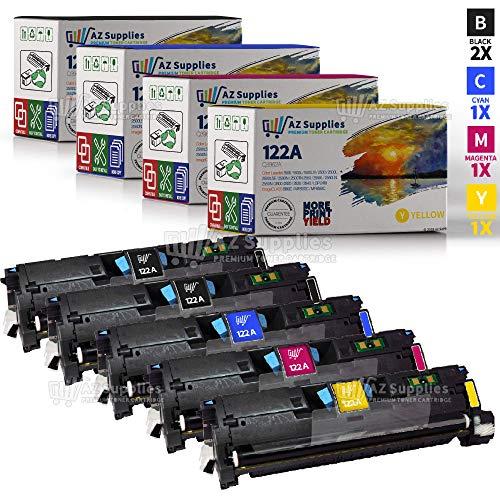 AZ Supplies Compatible Toner Cartridge Replacement for HP 122A (Q3960A, Q3961A, Q3962A, Q3963A) 5 Pack - 2 Black / 1 Cyan / 1 Magenta / 1 Yellow
