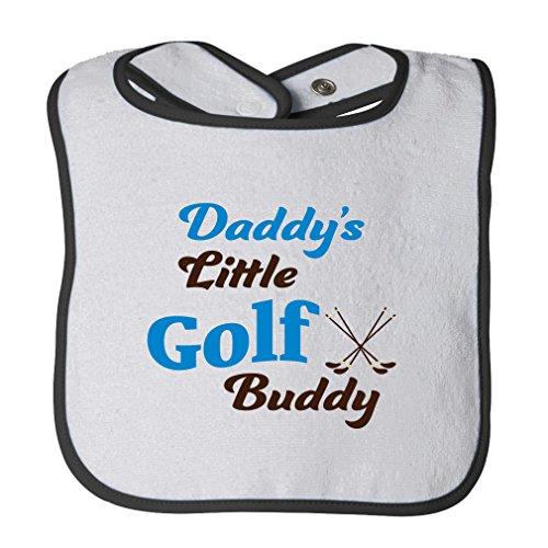 Cotton Golf Bib - Daddy S Little Golf Buddy Cotton Terry Unisex Baby Terry Bib Contrast Trim - White Black, One Size