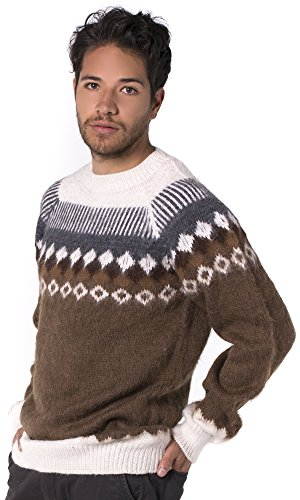 36c46345f5a554 Gamboa - 100% Alpaca Sweater for Men - Round Neck Alpaca Sweater - Brown and