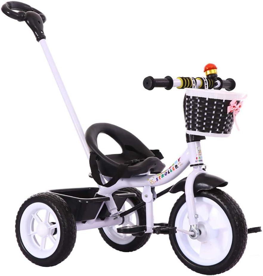 SSLC Niños Triciclo De Rueda,Triciclo Infantil Bicicleta Control Parental Desde el Mango Banda de Goma Ruedas de Gomas y Conducción Silenciosa para Niños de 6 Meses a 5 Años Máx 30 kg