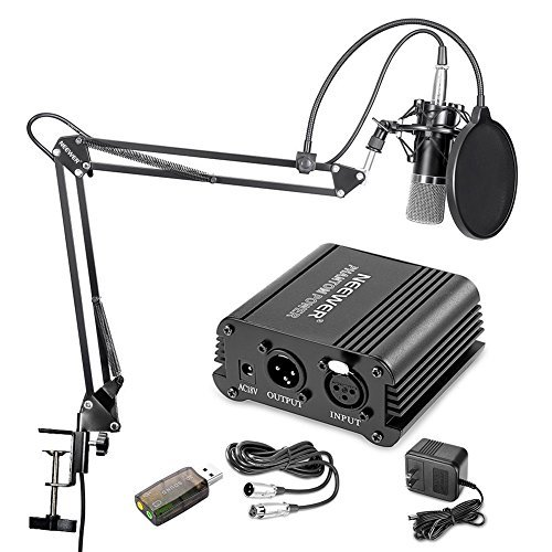 Neewer Home Studio NW-700 Condenser Microphone Kit with Shock Mount, NW-35 Boom Scissor Arm Stand, 48V Phantom Power Supply, XLR Cable, Pop Filter and Type-A USB External Stereo Sound Adapter