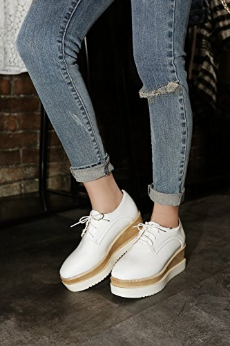 Latasa Womens Fashion Lace-up Platform Mid Wedge Heel Oxford Shoes White fKY8Dnpm