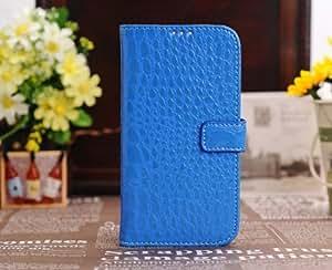 Cocodrilo patr?n imitaci?n cuero Flip caso cubrir libro estilo de soporte para Samsung Galaxy SIV S4 i9500 - azul