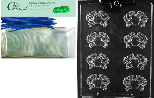 Cybrtrayd Mdk50B-N062 Crab Pieces Nautical Chocolate Candy Mold with Packaging Bundle, Includes 50 Cello Bags, 50 Blue Twist Ties, Chocolate Molding Instructions
