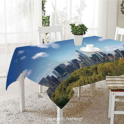 BeeMeng Large dustproof Waterproof Tablecloth,Family Table Decoration,City,Manhattan Skyline with Central Park in New York City Midtown High Rise Buildings,Blue Green Ivory,70 x 104 inches