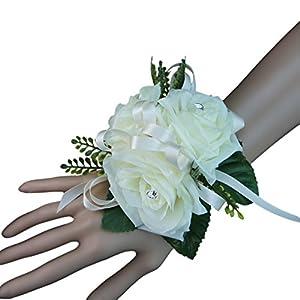 Silk Flower Arrangements Angel Isabella Wrist Corsage- Ivory Roses