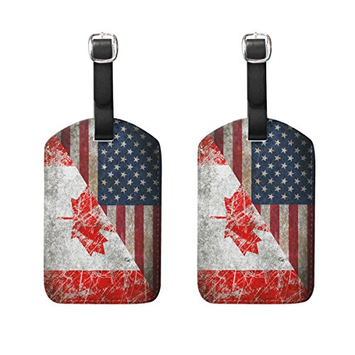 Set of 2 Retro Canada Usa Flag Luggage Tags Travel Suitcase Labels ID Tags With Straps