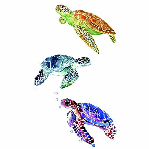 WYUEN 5 Sheets Colorful Turtle Kids Body Art Whale Tattoo Sticker For Men Women Fake Waterproof Temporary Tattoo New Design 9.8X6cm (FA-342) -
