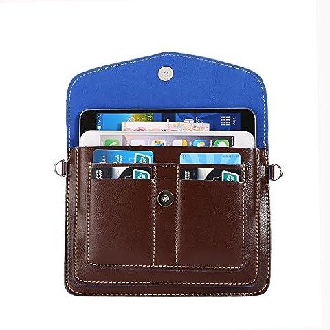 Hankuke Multipurpose Universal Luxury Pu Leather Cross Body Shoulder Case Bag Pouch for Iphone, Samsung Galaxy,htc,nokia Lumia, Blackberry, Motorola Various Cell Phones Under 6.3
