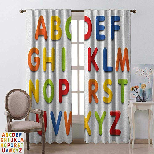 youpinnong Letters, Curtains Darkening Blackout, Multicolored Collection of Alphabet Letters Education Image Capital Symbols Writing, Curtains for Boys Room, W72 x L84 Inch, Multicolor
