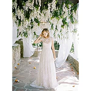 Miyaya 24 Pieces Realistic Artificial Silk Wisteria Vine Ratta Silk Hanging Flower Plant for Home Party, Wedding Decor and Other Various Events - Each White 4