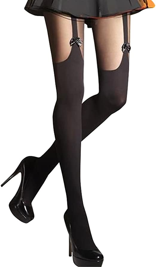 Size Small Vintage 15 denier Patterned seamed black nylon lace top stockings