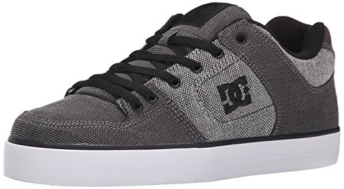 DC Men's Pure TX SE Skate Shoe, Grey/Grey/White, 10 M US