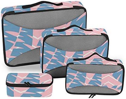 トラベル ポーチ 旅行用 収納ケース 4点セット トラベルポーチセット アレンジケース スーツケース整理 ヤシの葉 ジャングル ローズ 収納ポーチ 大容量 軽量 衣類 トイレタリーバッグ インナーバッグ