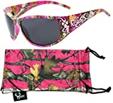 Hornz Hot Pink-Purple Camouflage Polarized Sunglasses Country Girl Style Camo & Free Matching Microfiber Pouch – Hot Pink-Purple Camo Frame - Smoke Lens
