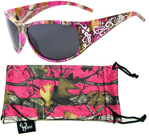 Hornz Hot Pink-Purple Camouflage Polarized Sunglasses Country Girl Style Camo & Free Matching Microfiber Pouch – Hot Pink-Purple Camo Frame - Smoke (Camouflage Kids Sunglasses)