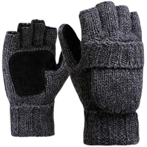 JOYEBUY Men Winter Warm Wool Knitted Convertible Fingerless Gloves With Mitten Cover (Dark Grey)
