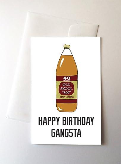 Amazon 2 Pack 40 Oz Gangsta Birthday Cards 425x55 Inch