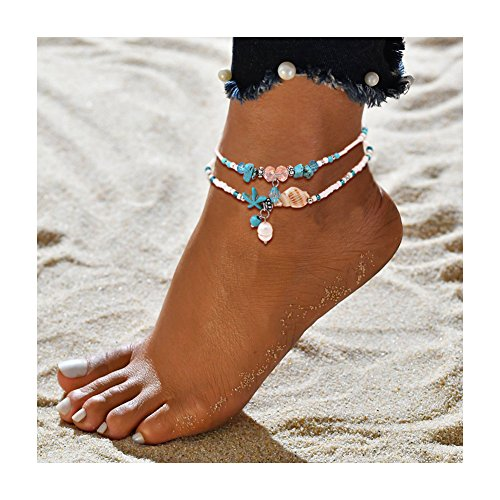Geerier Boho Starfish Pearl Anklet Turquoise Starfish Glass Shell Charm Handmade Sea Animal Ankle Bracelet Beach Foot Chain Jewelry 2pcs Pack - Turquoise Ankle Bracelet Anklet