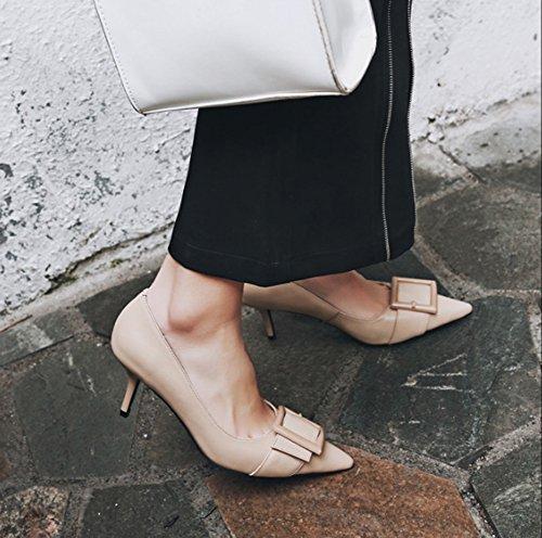 Haut mince talons Pointu Carrière chaussures femmes bouche Abricot profonde Femmes hauts Confortable Véritable et Cuir Automne peu pour talon Printemps Chaussures HJHY Europe Couleur Chaussures célibataires wa6xzTa