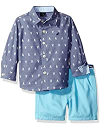 Nautica Boys' Long Sleeve Printed Button Down and Solid Flat Front Short Set