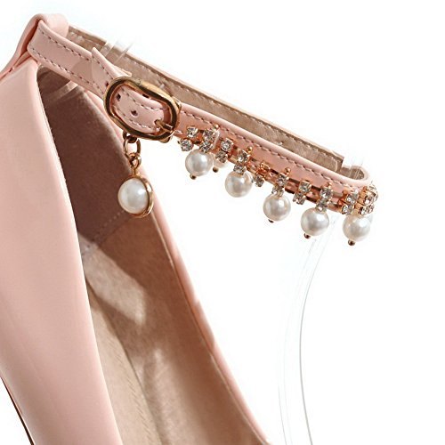 Pink Round Shoes Solid Leather Buckle AmoonyFashion Pumps Toe Womens Heels High Patent w4vOftxqP