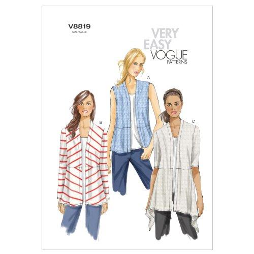 Vogue Patterns V8819 Misses Cardigan, Size ZZ (LRG-XLG-XXL)