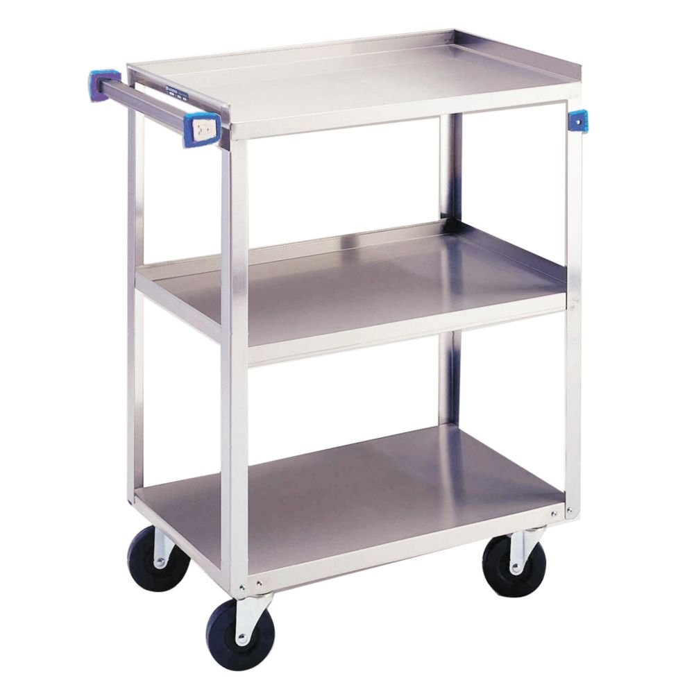 Lakeside 311 Utility Cart, 3 Shelves, Stainless Steel, 300 lb Capacity, 16-1/4'' x 27-1/2'' x 32-1/8''