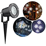 DGQ 4 LEDs White Moving Flurry Snowflake Light Waterproof Decorations Outdoor Spotlight Landscape Lights for Wall, Patio,Yard,Garden Holiday Party Decoration