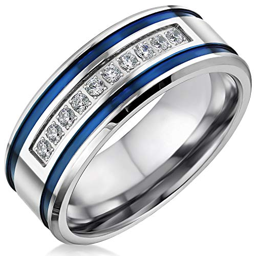 Steel Stripe Ring Stainless - Mens Wedding Bands Stainless Steel CZ 8mm Blue Stripes Engagement Rings for Him Men Wedding Jewelry (Size 11)
